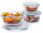 Store High Borosilicate Bakeware, Oven Safe Glass Container Square, Set of 3, Transparent ( 320ml + 520ml + 800ml )