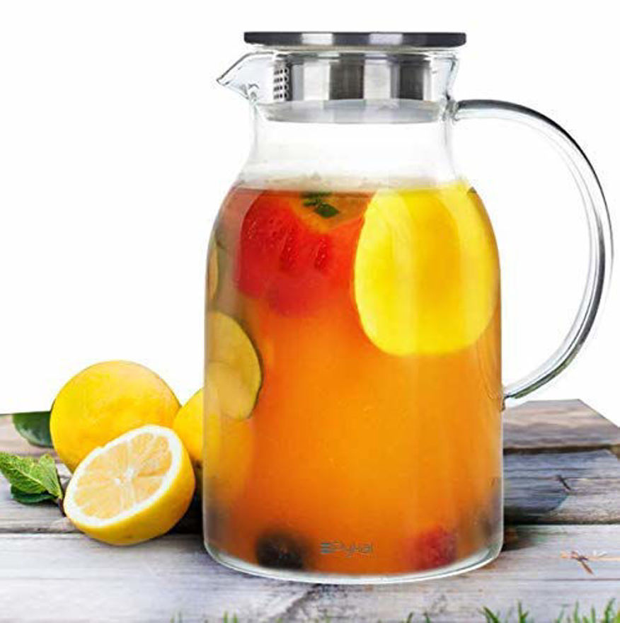 Airtight Wooden lid Juice Water and Beverages carafes Glass, Clear Pitcher for Lemonade Sun Tea hot/Cold Water Cocktail, 1800ml, Set of 1
