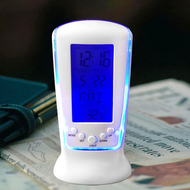 Picture of 510 Digital Alarm Temperature Calender Table Desk Clock with LCD Display and Back Light Alarm Clocks for Bedroom,Alarm Clock Digital,Alarm Clock for Students,Table Clock with Alarm