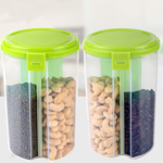 Picture of Cereal Dispenser Storage Jar Box Container Bin with Lid for Kitchen Food Rice Pasta Nuts Grains 3 Section (Assorted Color)
