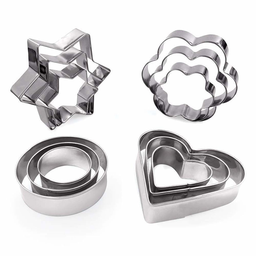 Picture of Cookie Cutters Mini Geometric Shapes Cookie Cutters, Vegetable Shape Cutters for Kitchen,12pcs Stainless Steel Cookie Cutter Set.