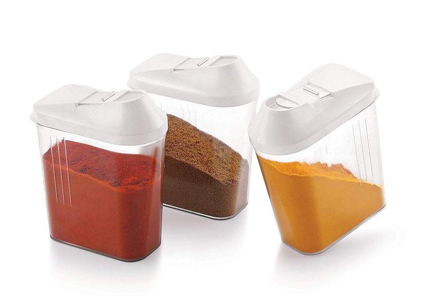 Picture of Easy Flow Plastic Kitchen Storage Transparent Jars & Container Set   1100 Ml