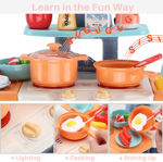 Big size fashion supermarket kitchen set for kids with light, sound and water effect-29 piece set- Multi color