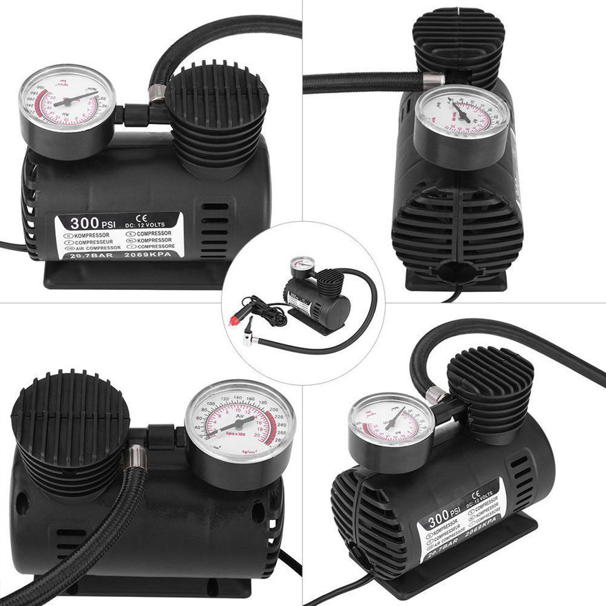 Picture of 12 Volt Portable Mini Air Compressor Pump with Gauge & Multi Purpose Tire Inflator (Black Color)