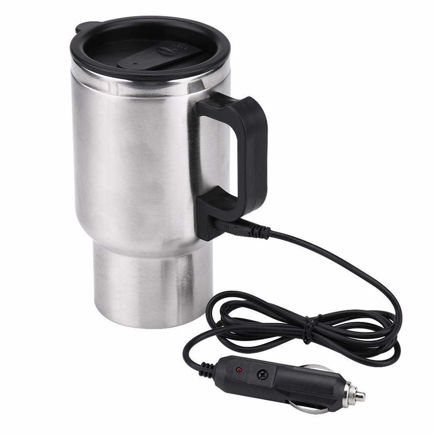 Picture of 12V Car Charging Electric Kettle Stainless Steel Travel Coffee Mug Cup Heated Thermos
