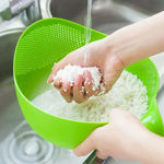 Picture of 2 in 1 Plastic Grain and Vegetables Washing Rice Bowl and Strainer (Assorted Color