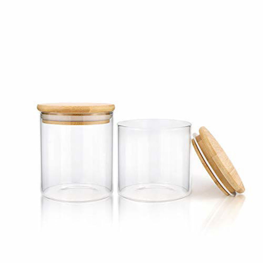 Airtight dry fruit and nuts container glass set, jar canister for spices biscuit candy cereal, decoration and for table needs, 700ml, set of 2