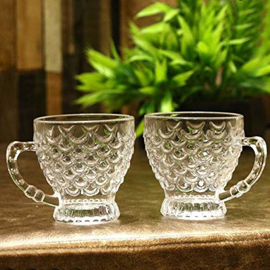 Crystal Clear Bubble Glass Tea &Coffe Cup with Saucer,210 ml - (Cups-6 &Saucers-6) Pack of (12)