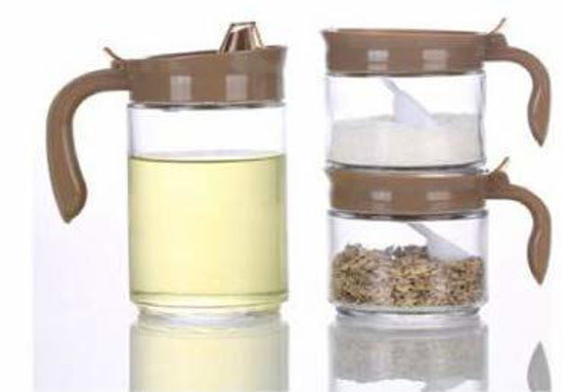 Cooking Oil Dispenser(600ml) with 2 Glass jr(300ml), Set of 3, Brown
