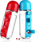 Picture of 2 in 1 Portable Weekly Medicine Pill Box Organizer with 7 Compartments & Water Bottle (600 ml) (Assorted Color)