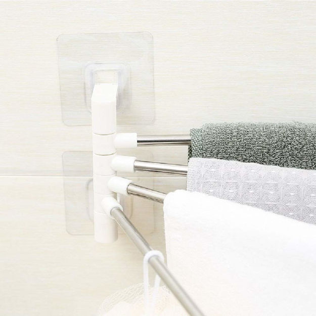 Picture of 4 Bars Stainless Steel Towel Rack with Wall Stick Adhesive Pads for Bathroom
