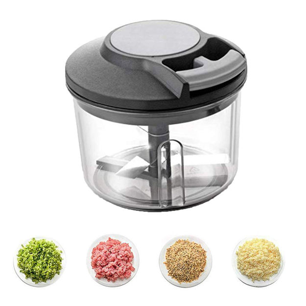 Picture of Handy Plastic Chopper with Pull Cord Technology and 3 Stainless Steel Blades Eco Friendly Design Vegetable & Fruit Chopper(Black)