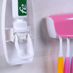 Picture of Plastic Automatic Toothpaste Dispenser with 5 Toothbrush Holder (Different Color Available)