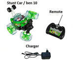 RC Full Function Radio Remote Control Toys 360 Degree Rotating Stunt Remote Cars with Light, Music and Rechargeable Batteries for Kids (Color May Vary) (Green)