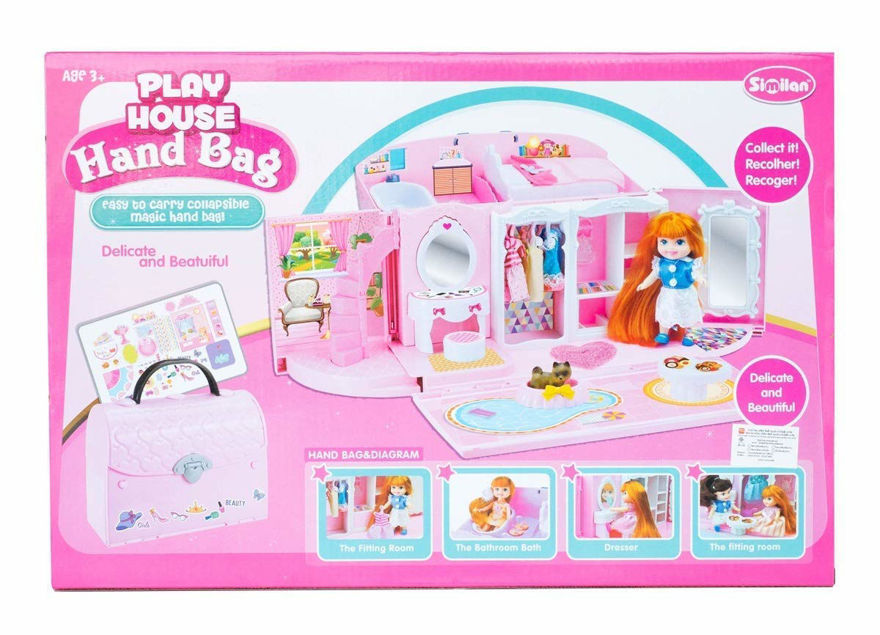 Doll house funny play set | dream house kitchen set for kids play house hand bag toy for kids ( plastic)- Multi color