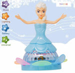360 Degree Rotating Musical Dancing Girl Doll with Flashing Lights and Bump,Kids Learning Toy,Umbrella Doll,Room Doll House,Doll with Doctor Kit (Premium Doll House) [Blue Dancing Doll]
