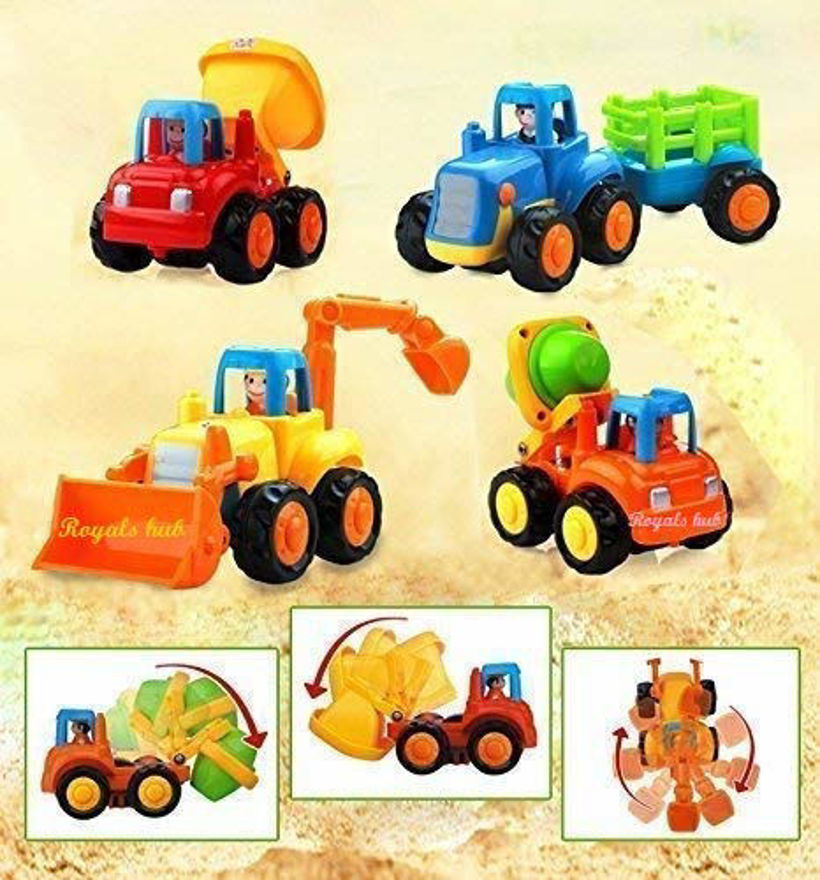 4 Pack Friction Powered Cars Construction Vehicles Toy Set Cartoon Push and Go Car, Bulldozer, Digger Toddler Baby Kids Toys  (Multicolor, Pack of: 4)