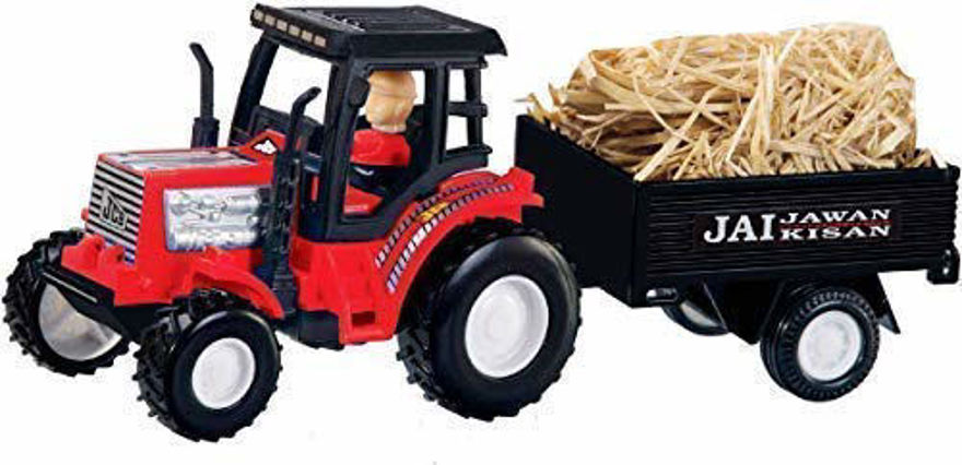 Farmer Tractor Toy with Trolley Toy for Kids (Red)