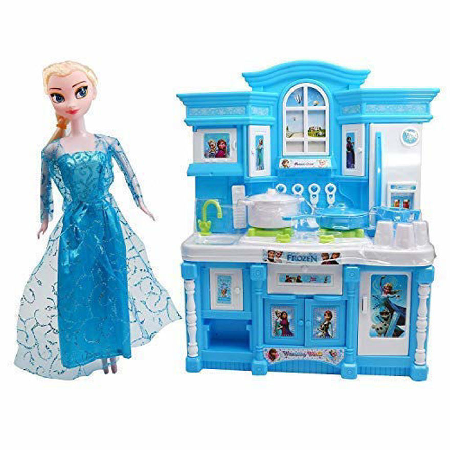 Kitchen Set with Lights and Beautifull Music & Frozen Princess Doll (Blue, White) (Multicolor)