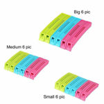 Picture of 3 Different Size Plastic Food Snack Bag Pouch Clip Sealer for Keeping Food Fresh for Home Kitchen Camping 18 PCS (Assorted Color)