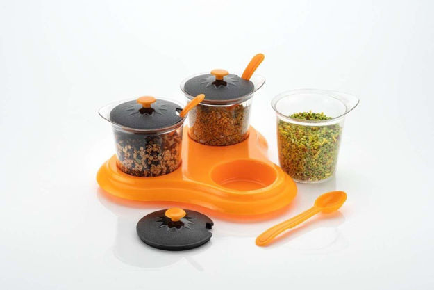 Picture of 3 Pcs Multipurpose Storage and Container for Mukhwas, Masala Tray Set with Spoons