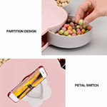 Picture of 5 Compartments Flower Candy Box Serving Rotating Tray Dry Fruit, Candy, Chocolate, Snacks Storage Box with Mobile Phone Stand