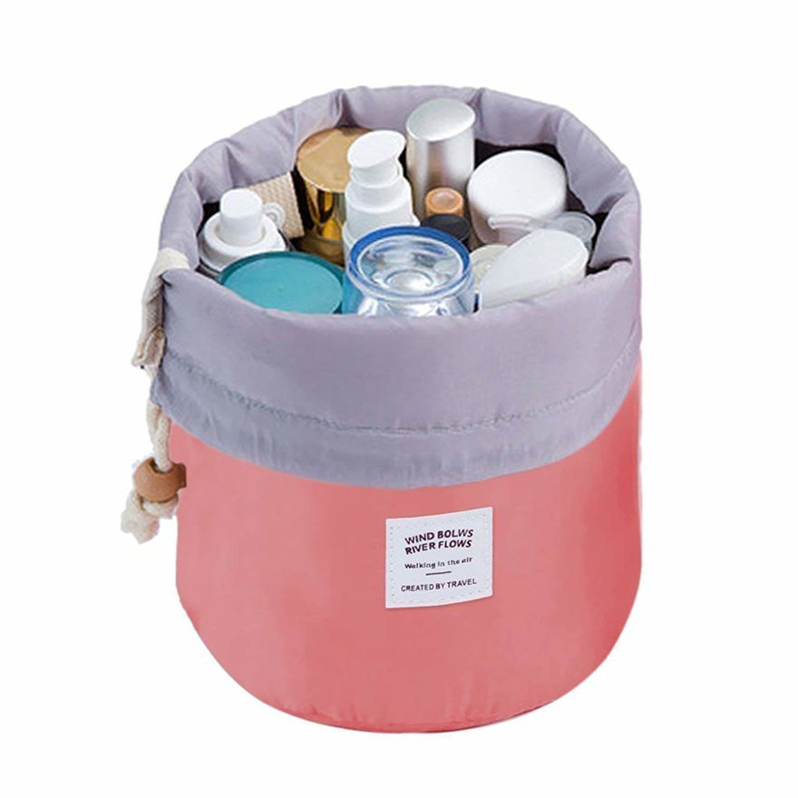 Picture of Cotton and Nylon Bucket Barrel Round Shaped Cosmetic Makeup Travel Pouch Organizer (Assorted Colour)