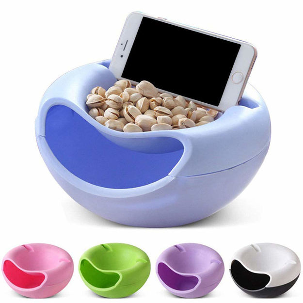 Picture of Fruit Platter Bowl with Smartphone Holder for Using Phone iPad Or Tablet While Eating Snacks Nuts Candies Pistachios Fruits