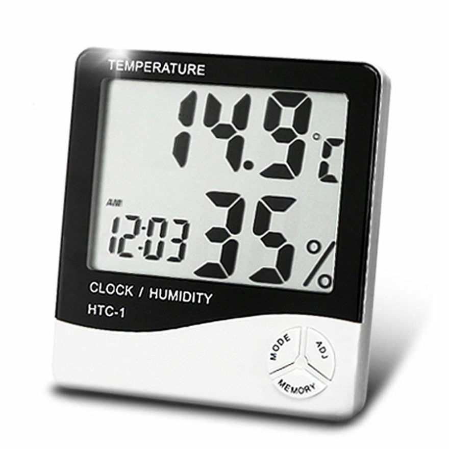 Picture of HTC 1 Temperature Humidity Meter with Date, Time, Alarm and Clock with LCD Display