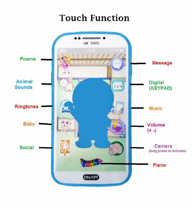 My First Toy Mobile Phone With Light and Sound, Touch Screen And With A Doraemon Charactor On Screen  (Multicolor)