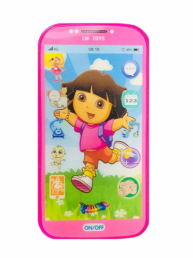 Toys Digital Mobile Phone with Touch Screen Feature, Amazing Sound and Light Toy (DORA)  (Pink)