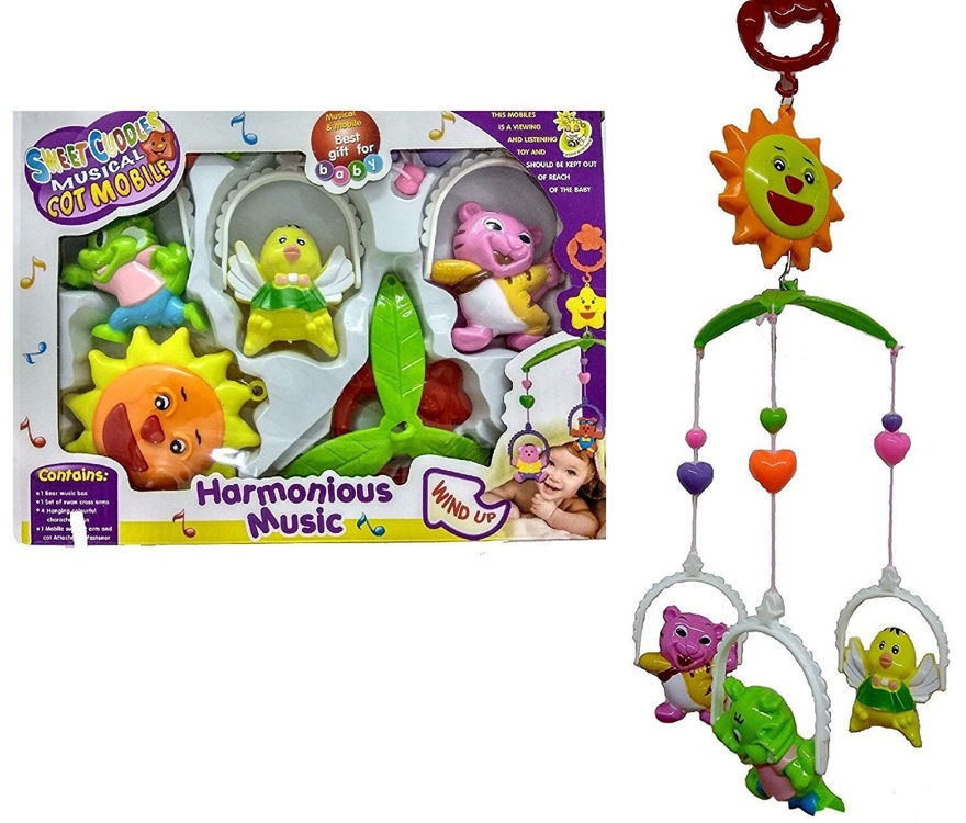 5 PCS Lovely Colourful Musical Hanging Rattle Toys With Hanging Cartoons For Toddlers/Babies/infants/newborns
