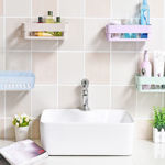 Picture of Plastic Inter Design Bathroom Kitchen Organizer Shelf Rack Basket with Wall Mounting Suction Cups