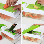 Picture of Plastic Vegetable and Fruits Grater, Chipser Chopper, Slicer, Cutter and Dicer with 11 Stainless Steel Blades and 1 Peeler