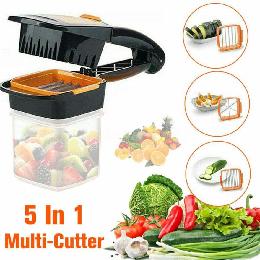 Picture of Plastic Vegetable Dicer Chopper 5 in 1 Multi Function Slicer with Container Onion Cutter Kitchen