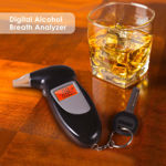 Picture of Professional Breathalyzer with Semi Conductor Sensor and LCD Display Digital Breath Alcohol Tester with 5 Mouthpieces (Black Color)