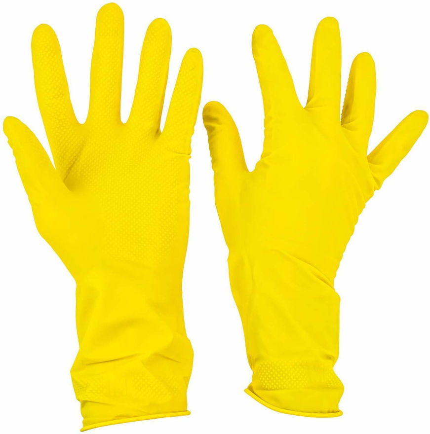 Picture of Reusable Washing and Cleaning Rubber Hand Gloves for Kitchen and Garden (Yellow Color, Medium)