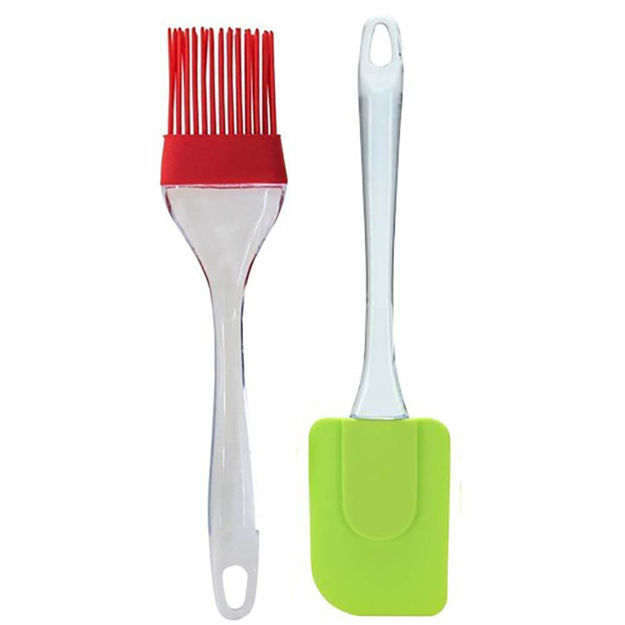 Picture of Silicone Spatula and Pastry Brush for Cake Mixer, Decorating, Cooking, Baking and Glazing