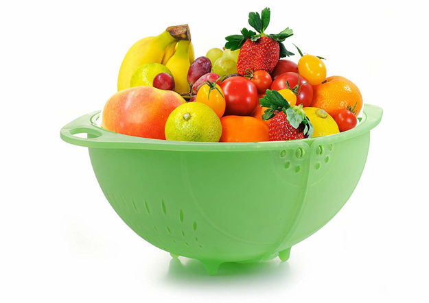 Picture of Smart Basket for Fruits and Vegetables Plastic Used as Water Strainer and Store at Dining (Assorted Color)