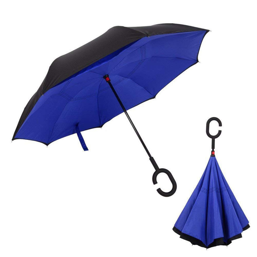 Picture of Windproof Umbrella Reverse C Shaped Hand Free Handle Folding Double Layer Drip Free Umbrella(Assorted Color)