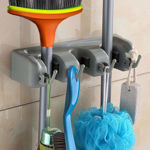 Picture of Wall Mounted Magic Holder Organizer for Broom and Mop with 3 Slot 4 Hook
