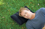 Picture of Velvet Soft Air Inflatable Navy Blue Travel Pillow for Family   Set of 2