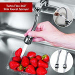 Picture of Turbo Flex Stainless Steel 360 Instant Hands Free Faucet Swivel Spray Sink Hose for Bathroom, Kitchen