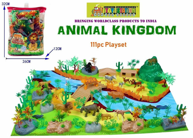 Animal Play Sets Wild Animals Figures Set for Kids/Young Ones Pack of Animals (Big Size-Wild) (Animal Kingdom - 111 PCS with Play MAT)