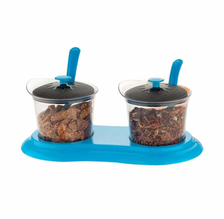 Picture of 2 Pcs Multipurpose Storage, Pickle Container and Mukhwas Tray Set with Spoons (Assorted Color)