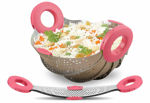 Picture of Foldable Kitchen Colander Drain Basket, Rice Pulses Fruits Vegetable Rice Washing Bowl and Strainer Stainless Steel Bowl (Assorted Color)