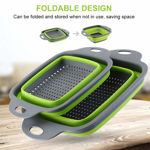 Picture of Foldable Silicone Colander Fruit   Vegetable Washing and Strainer Basket (Set of 2)