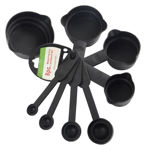 Picture of 8 Pcs Black Measuring Cups and Spoons Set + Oil Brush and Silicone Spatula