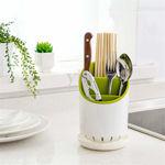 Picture of Plastic Cutlery Drainer Holder for Kitchen   Spoon Holder   Fork Organizer Dryer Storage Dock (White/Green)