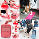Picture of Unisex Waterproof Multi-Purpose Fordable 2 Layer Polyester Travel Shoe Storage Bag (Multi-Color)